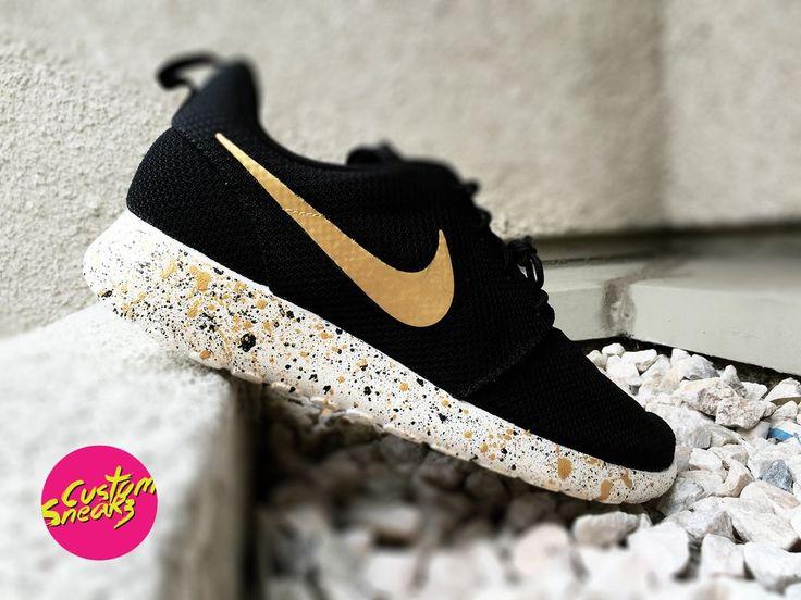 Custom Roshes, Custom Nike Roshe Black and Gold splatter design, Mens and Womens, Unisex sizes