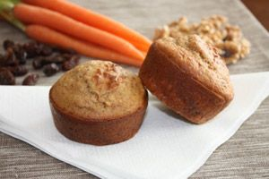 healthy carrot cake muffins with 11 grams of protein, and only 71 calories, 5 grams sugar and 4.5 grams of fat per serving! not shabby.