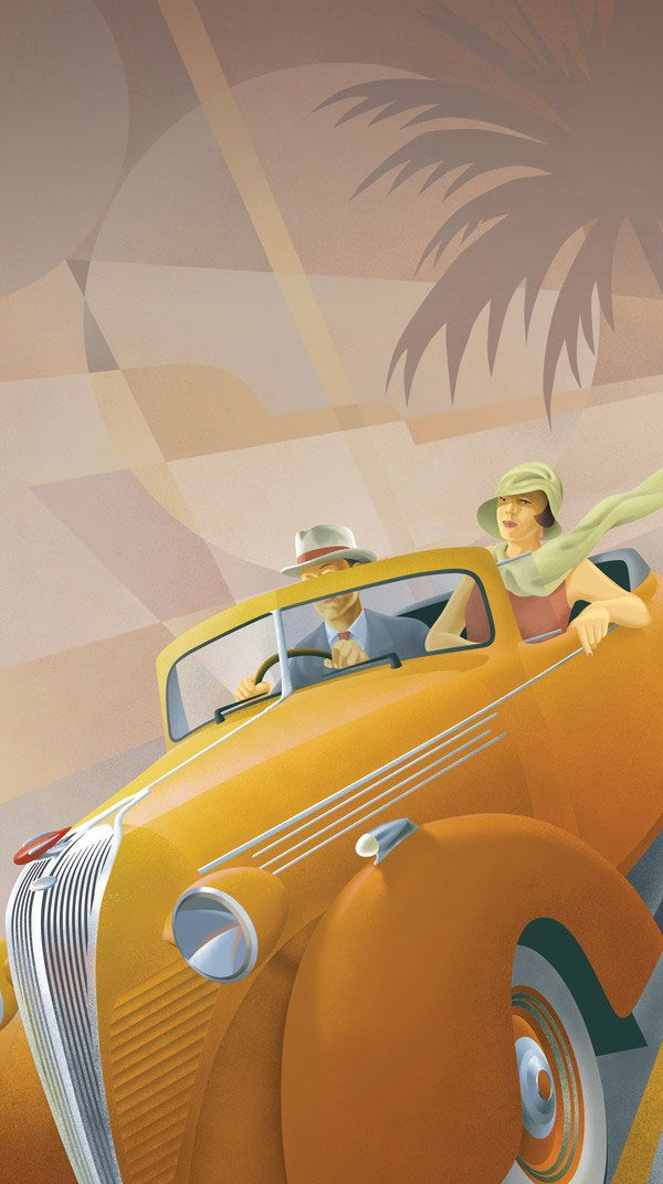 Art Deco 1920's couple in a yellow car.