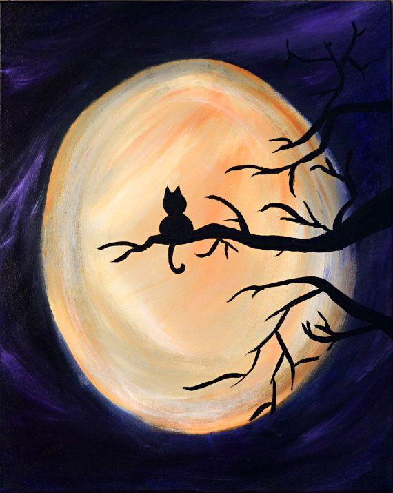 Harvest Moon Kitty, original painting, halloween, cat, acrylic on stretch canvas
