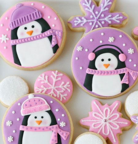 Easy Christmas Baking Ideas & Recipes - Pink and Purple Penguin Cookies - Click Pic for 18 Fun Holiday Desserts