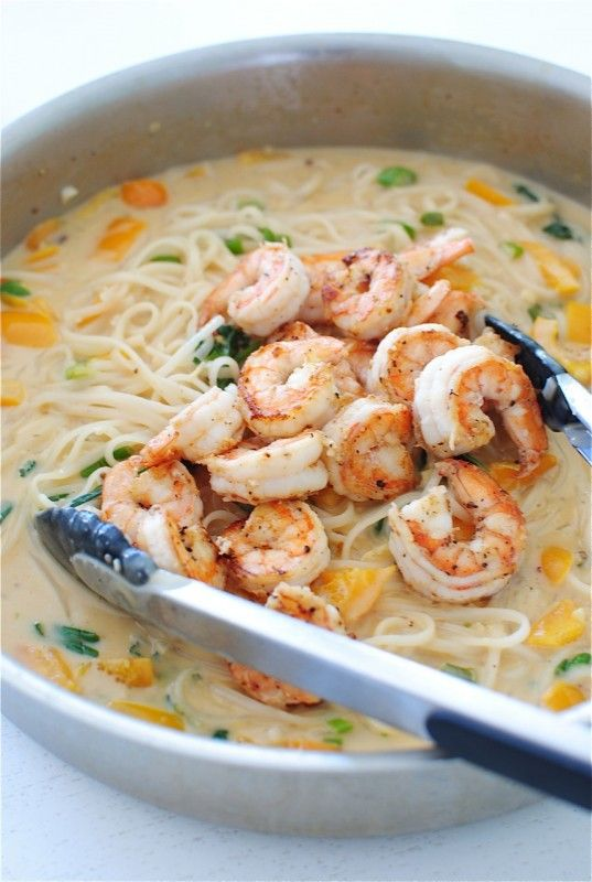 This one pan coconut shrimp noodle bowl recipe is so simple, love it.