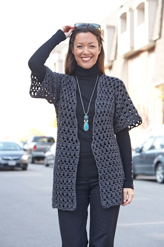 """Perfect Office Crochet Jacket: Free Pdf Pattern From Caron, Intermediate Skill,  Sizes: Small, Med, Large, X-large, 2X, 3X  H Hook, To Be """"perfect"""", I Need A Pocket And Maybe Some Type (frog) Of Closure.  But It's A Style, I Definately Would Wear."""