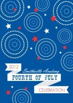 Modern Blue, Red and White Fireworks and Stars 4th of July Invitation - #happy4th #redwhiteandblue