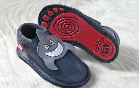 "Say ""Hello"" to POLOLO Soft Sharky with non slip sole... Available for children up to 7 years at Kid Whisperer!"