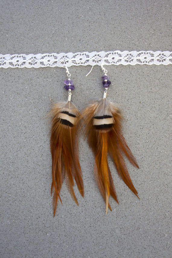 Boho veren oorbellen met edelsteentjes Bohemian oorbellen met