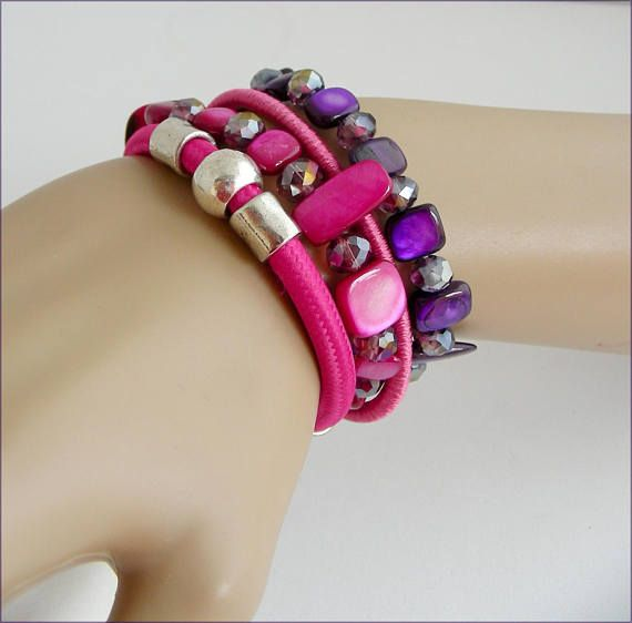 Purple/Pink woman bracelet cord/mother of pearl