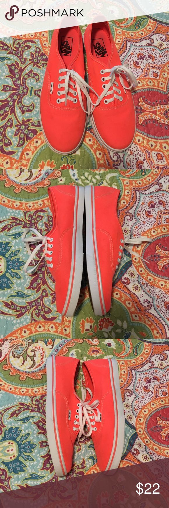 Neon Coral Vans A little bit of dirt on the upper that would probably come of with a light wash or scrub. Otherwise in great condition. Men's size 7 or Women's size 8.5 Vans Shoes Sneakers