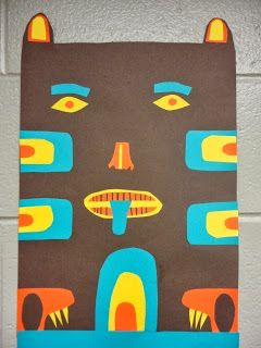 Totem poles collage. includes digital presentation and lesson plan. Thomas elementary art
