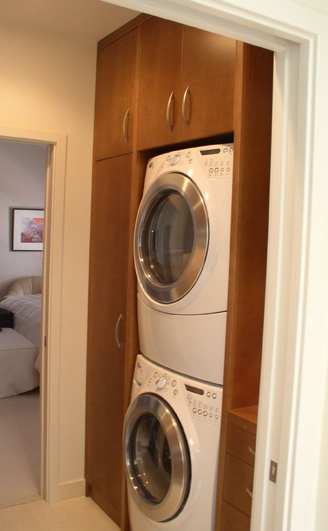1000 images about stacking washer dryer on pinterest for Washer and dryer in kitchen ideas