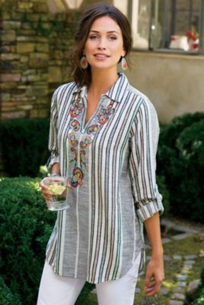 New Soft Surroundings Aruba Top Tunic Stripe Embroidery Cotton Gauze