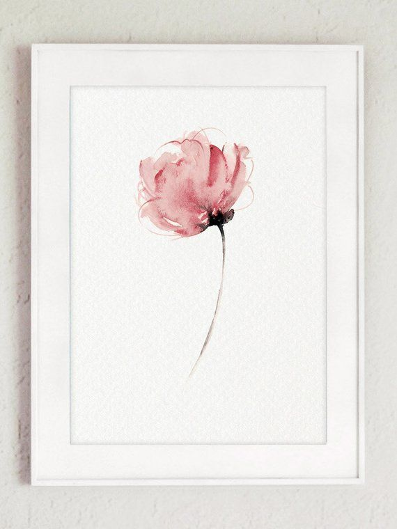 Canvas Peony Art Print Set 3 Flowers Navy Blue And Rose Pink