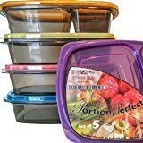 #6: Meal Prep Containers 3 Compartment Lunch Boxes Set of 5 Food Storage Containers with Lids BPA Free Plastic Bento Box Portion Control Divided Cover Reusable Microwave Dishwasher Freezer Safe