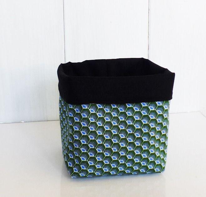 grand pochon panier de rangement tissus wax bleu vert et. Black Bedroom Furniture Sets. Home Design Ideas
