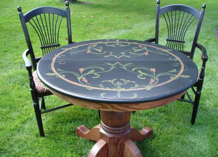 painting oak table black | This table began life as a stained oak table with two leaves.