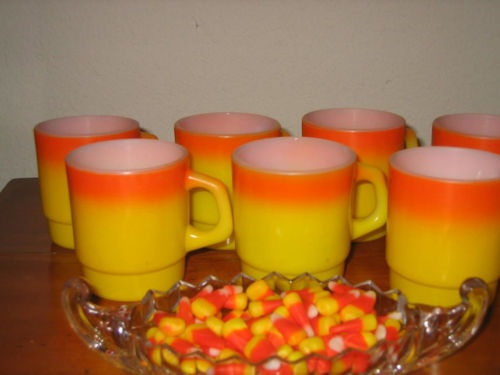 Vintage Fire King mugs in Candy Corn colors!