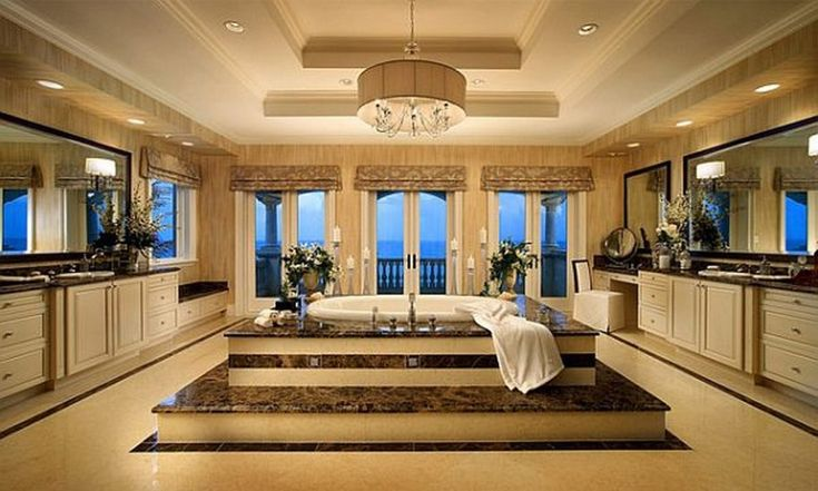 Over the Top Inspirational Bathroom Designs : Luxurious Large Bathroom Design With Center Bathtub