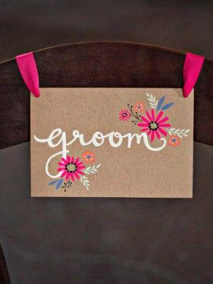 Hand Painted Floral and Kraft Paper Bride + Groom Chair Signs, Design: Melissa Kelman