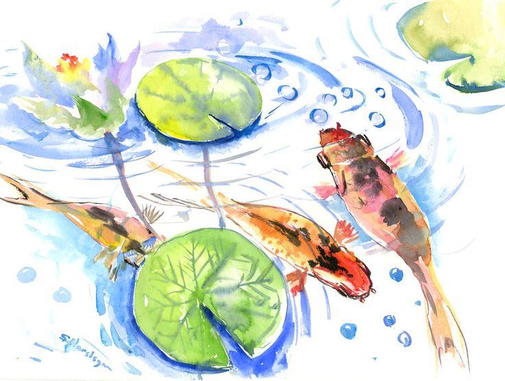 Asian INk Painting  Goldfish,Koi, original orange  black yellow watercolor Asian style painting, Zen Brush painting, feng shui by ORIGINALONLY on Etsy