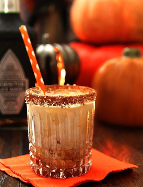 A classic White Russian gets upgraded when you swap vodka for tequila in this late-night drink. The best part? It's called The Black Goblin, meaning it's just spooky enough for a Halloween drink. Add an orange or black straw to top it all off. Click through for the recipe and more easy Halloween cocktails.
