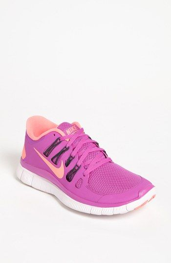 Nike 'Free 5.0' Running Shoe (Women) available at #Nordstrom (purple/atomic pink OR volt/white sz 8)