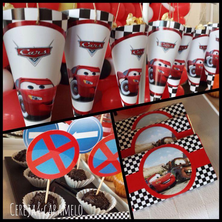Cones, palitos e chocolates personalizados com o tema Faisca Mcqueen para a sua festa! Escolha o tema e nós realizamos.  Encomendas e mais detalhes: cerejaecaramelo@gmail.com