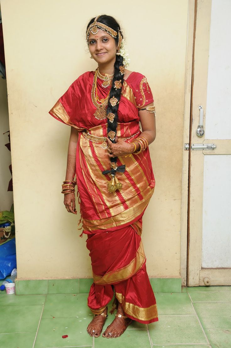 Tamil Brahmin Bride With Temple Jewelery
