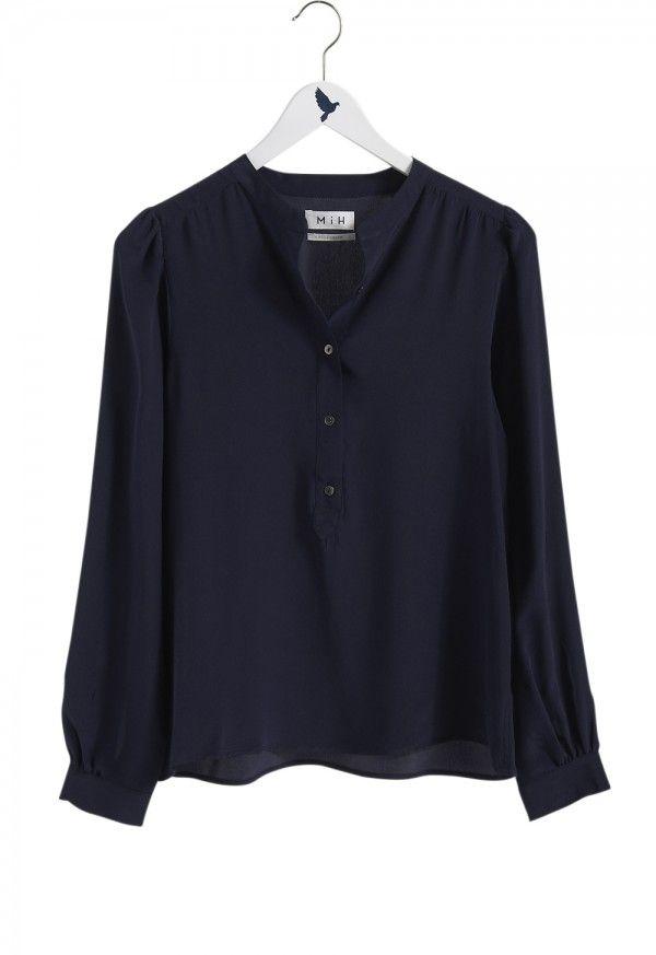 The HENLEY Shirt - Women's shirt - COLLARLESS PULL ON SHIRT - Navy Silk - MiH
