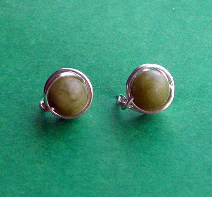 Connemara Marble Stud Earrings, Wirewrapped Post Earrings, Non Tarnish Wire with 8 mm Jade Green Gemstones by VintageIrishDresser on Etsy