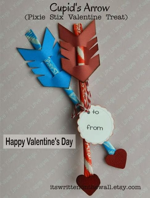 It's Written on the Wall: #Valentines Day Treat-Cupid's Arrow / Pixie Stix / Sticks-Easy to Make! #ValentinesDayCraft   #Heart