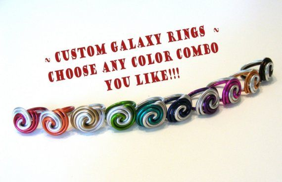 Galaxy Swirl ring worn by Elaine Bradley of the Neon Trees! Anodized Aluminum Wire. RefreshingDesigns