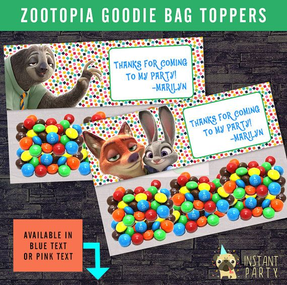 ZOOTOPIA Goodie Bag Topper Favor Bags By Instantparty On Etsy