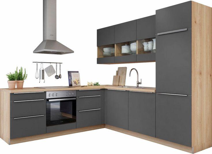 set one by Musterring Winkelküche mit E-Geräten »Lucca« grau