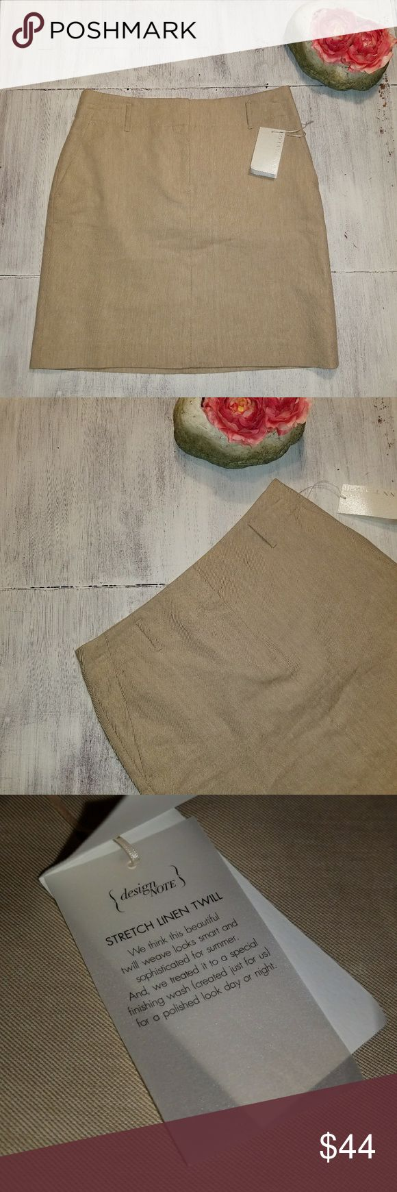 """NWT Ann Taylor Stretch Linen Twill Pencil Skirt 2 Beautiful light khaki colored linen twill skirt by Ann Taylor. New with tags attached with an original price of $88.00.   Laying flat measurements: Waist 14.5"""" Length18"""" Ann Taylor Skirts Pencil"""
