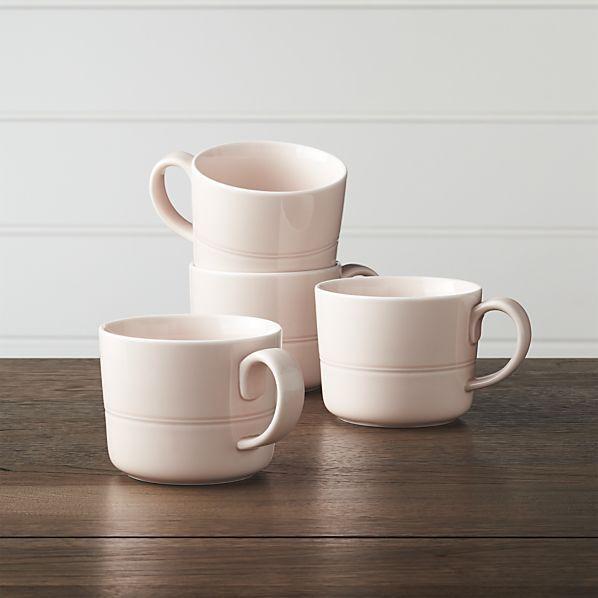 Set of 4 Hue Blush Mugs | Crate and Barrel