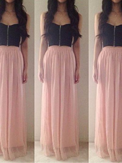 Long light pink pleated skirt   Spring Fashion   Pinterest   Pink ...