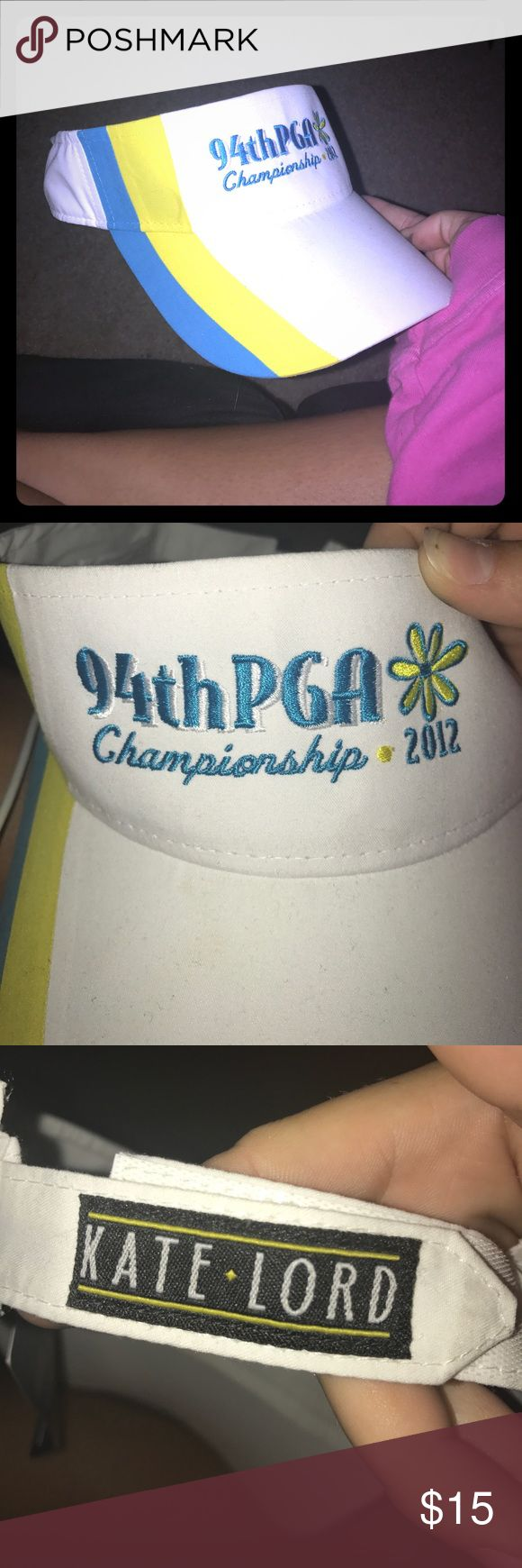 94th PGA championship white ladies visor NWT White ladies visor with yellow and blue details. 94th PGA Championship (2012). Velcro back and from the official PGA shop (see tag). Great collectible or gift for a golf lover! PGA Accessories Hats