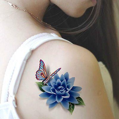 * 3D tatuajes temporales Mariposa Flores Pegatinas De Mujer Maquillaje Impermeable Tatoo