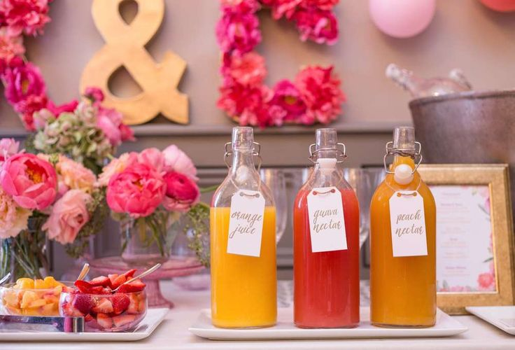 Mimosa bar at a garden tea party bridal shower party! See more party planning ideas at CatchMyParty.com!