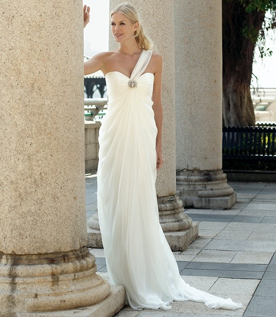 2011 discount ruched style chiffon one shoulder sweetheart for Goddess inspired wedding dresses