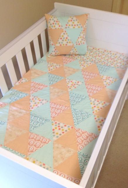 Baby Cot Set - Handmade Baby Quilt - Fitted Cot/Crib Sheet - Baby Bedding - pinned by pin4etsy.com