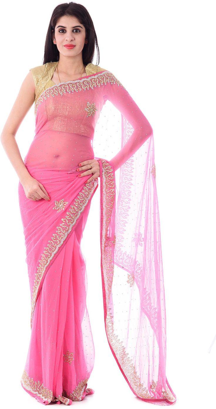 Shri Krishnam Embriodered, Embellished Fashion Chiffon Sari - Buy Pink Shri Krishnam Embriodered, Embellished Fashion Chiffon Sari Online at Best Prices in India | Flipkart.com