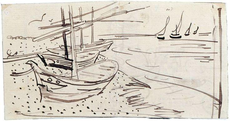 Винсент Ван Гог - Рыбацкие лодки на пляже в Сен-Мари | Sailing Boats