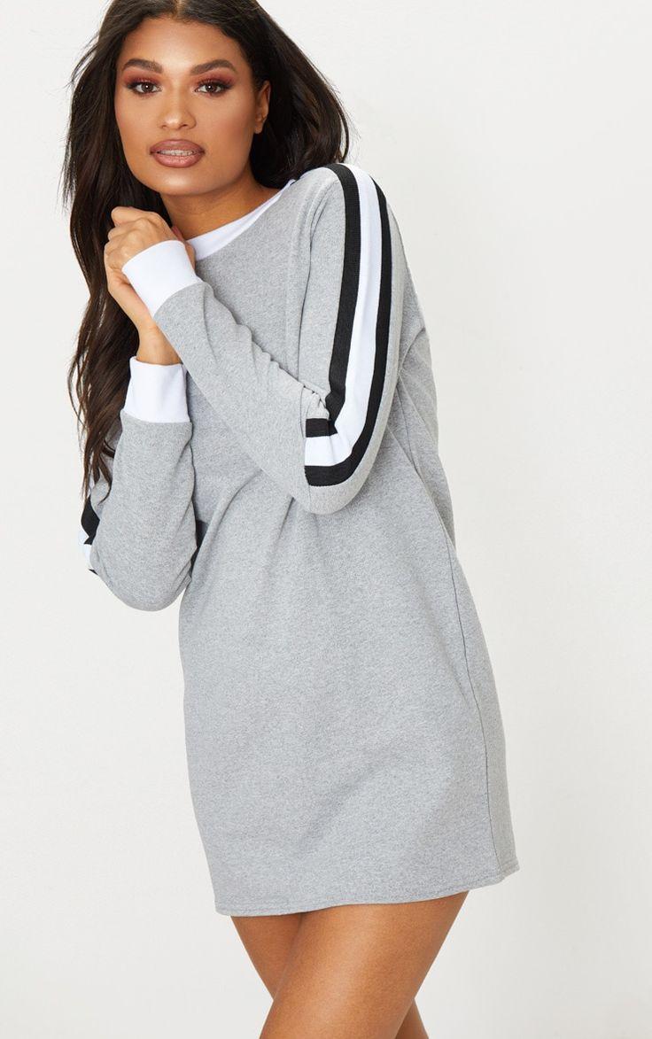 Grey sport stripe long sleeve jumper dress in 2020 long