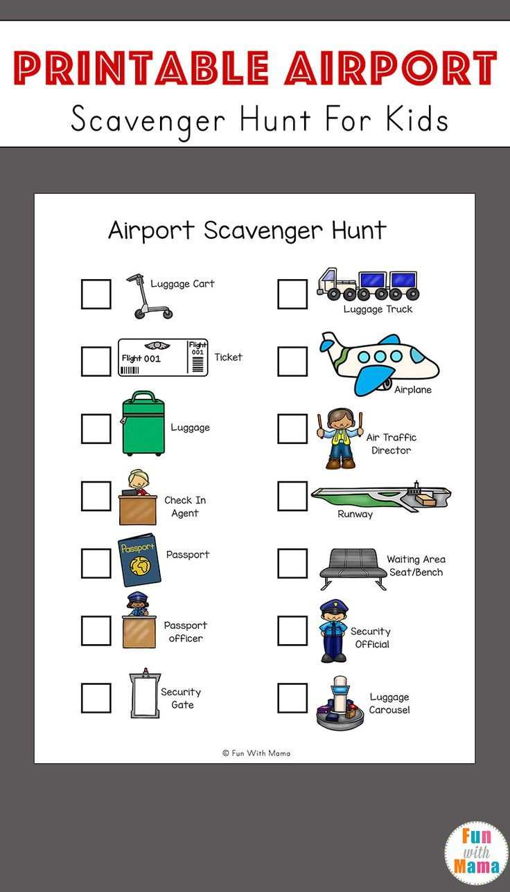 Airport Scavenger Hunt For Kids