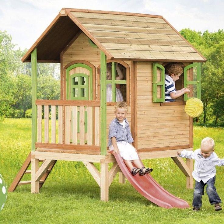 Kids Outdoor Playhouse Garden Play Backyard Wooden Activity Cabin Ladder Sliding #KidsOutdoorPlayhouse