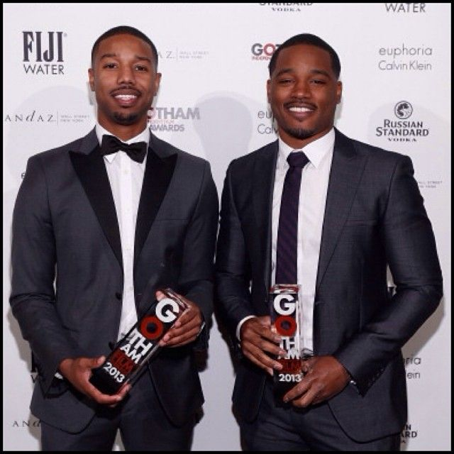 Michael B. Jordan with his Gotham Awardand Ryan Coogler
