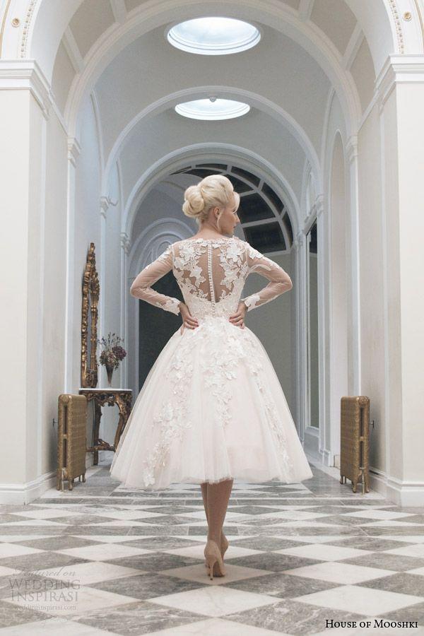 house of mooshki tea length wedding dress fall 2014 charlotte long sleeve gown illusion back view