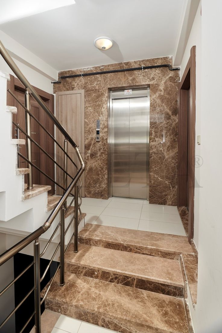 Light Emperador wall tiles & Staircase #marble #project #istanbul #marbletiles