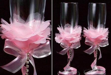 Свадебные бокалы для шампанского своими руками - украшение из лепестков